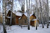 church in the winter forest