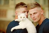 Soft And Warm Embrace. Muscular Men With Cute Cat. Happy Cat Owners On Walk With Pet. Twins Men Hold poster