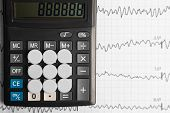 Tablets Are On The Calculator On Background Of Electrocardiogram poster