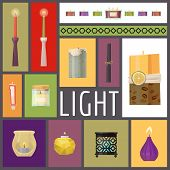 Candle Fire Vector Illustration. Wax Candles For Xmas Party, Romantic Heat Candlelight Flame And Lit poster