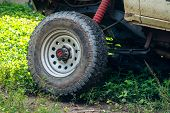 Off Road Wheel Stuck In Mud. Mud Wheel Terrain In The Forest. poster