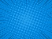 Comic Blue Background Radial Speed Lines Anl Halftone Dots For Comic Books. Explosion Background.vec poster