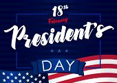 Lettering Presidents Day Greeting Card, Blue Stars And Flag Usa. Happy President`s Day 18th February poster
