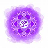 Sahasrara Icon. The Seventh Crown, Parietal Chakra. Vector Purple Smoky Circle. Line Symbol. Sacral  poster