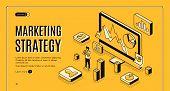 Digital Marketing Agency Isometric Vector Web Banner. Internet Entrepreneur Planning Business Strate poster