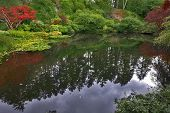 Lake in well-known gardens Butchart Gardens on island Vancouver poster