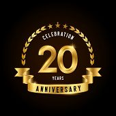 20 Years Anniversary Celebration Logotype. Golden Anniversary Emblem With Ribbon. Design For Booklet poster
