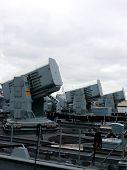 stock photo of labo  - portrait of guns on german navy ship - JPG