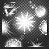 special effects Collection. Set of various light effects and symbols,  illustration. Firework light poster