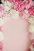 Happy Mothers Day Floral Greeting Card Mockup. Stylish Peonies Flat Lay. Pink And White Peonies Fram poster