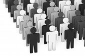 image of racial discrimination  - Symbolic people isolated over a white background - JPG