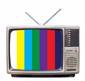 Classic Vintage Retro Style Old  Television With Test  Screen,old  Television With Old Tv Antenna On poster