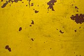Old Shabby Yellow Wall With Scratches And Red Spots. Rough Surface Texture poster
