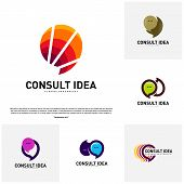 Set Of Modern Business Consulting Agency Logo Design Template. Elegant Simple Consult Logo Concept poster
