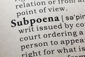 Fake Dictionary, Dictionary Definition Of The Word Subpoena. Including Key Descriptive Words. poster