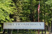 image of ticonderoga  - Fort Ticonderoga sign - JPG