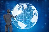 Globalization Technology Concept With 3d Rendering Robot With Global Connection poster