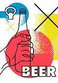 Beer Typographic Abstract Geometric Grunge Poster. Retro Vector Illustration. poster