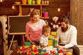 Fun Concept. Family Have Fun With Construction Set. Real Fun. Learning Is Fun. poster