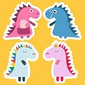 Sticker Dinosaur. Cool Dinosaur Vector Design. Baby Design. Dino Birthday Set. Dinosaur Funny Cartoo poster