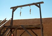 stock photo of gallows  - nooses hanging from a gallows - JPG