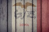 Usa Politics News Concept: Us State Iowa Flag Wooden Fence poster