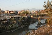 KATHMANDU, NEPAL - JANUARY 7: A generic view of a poor housing area at Old Baneshwor near Bagmati ri