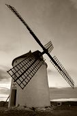 picture of veer  - Windmill in black and white Consuegra  - JPG