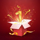 1 St Year Number Anniversary And Open Gift Box With Explosions Confetti. Template One First Birthday poster