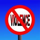 image of sadism  - Violence prohibited sign with blood illustration with blue sky - JPG