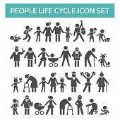 People Life Cycle Icons. Vector Illustration Of Person Growing Up From Baby To Old Age Human Isolate poster