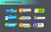 Hot News World Breaking Reportage Typography Banner Template Set. Newsletter Badge For Communication poster