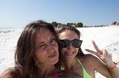 Selfie Time. Summer Vacation. Cotton Castle In Turkey. Selfie. Dead Sea Salty Shore. Sexy Girl. Frie poster