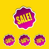 Sale Sticker For Shop. Discount Label. Stickers With 30%, 50%, 70% Discount. Pink Sticker With Yello poster