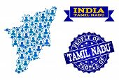 People Collage Of Blue Population Map Of Tamil Nadu State And Scratched Seal. Vector Seal With Scrat poster