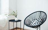 Minimalist Scandinavian Home Interior, Coffee Table Arrangement In White Room poster
