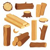 Cartoon Timber. Wood Log And Trunk, Stump And Plank. Wooden Firewood Logs. Hardwoods Construction Ma poster