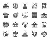 Amusement Park Icons. Set Of Carousel, Roller Coaster And Circus Icons. Air Balloon, Crane Claw Mach poster