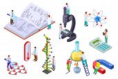 Isometric Science Set. Scientist And Student With Huge Chemistry And Physics Lab Equipment. Science  poster