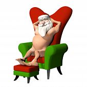 stock photo of humbug  - Santa Flashing in Chair - JPG