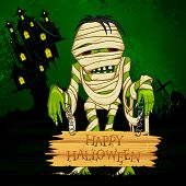 picture of beast-man  - vector illustration for halloween greeting with mummy - JPG
