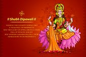 image of shakti  - vector illustration of godess lakshmi sitting on lotus - JPG