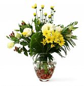 image of flower arrangement  - a transparent glass vase with flowers from the garden - JPG