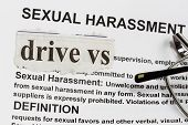 stock photo of rape  - Drive vs Sexual Harassment abstract with words related to sexual harassment - JPG
