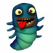 foto of maggot  - 3 d cartoon cute blue alien monster - JPG