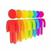 stock photo of sm  - Human resource glossy emblem icon as rainbow colored figures in a row isolated on white - JPG