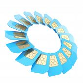 pic of micro-sim  - Circuit microchip SIM card round circle empty copyspace emblem frame isolated on white background - JPG
