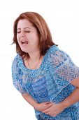 stock photo of diarrhea  - Girl with stomach ache - JPG