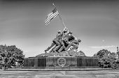 image of military personnel  - WASHINGTON DC - CIRCA MAY 2013: The Marine Corps War Memorial circa May 2013 in Wash DC USA. Also called the Iwo Jima Memorial is dedicated to all personnel of United States Marine Corps who have died in defense of their country since 1775.