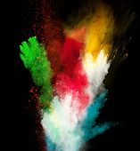 stock photo of fumes  - Launched colorful powder - JPG